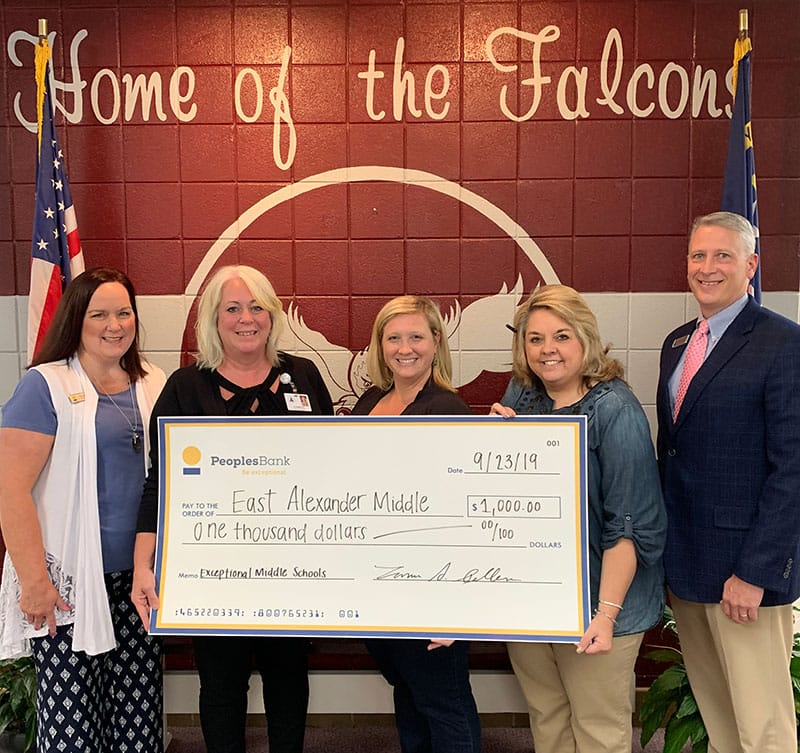 East Alexander Middle School check presentation