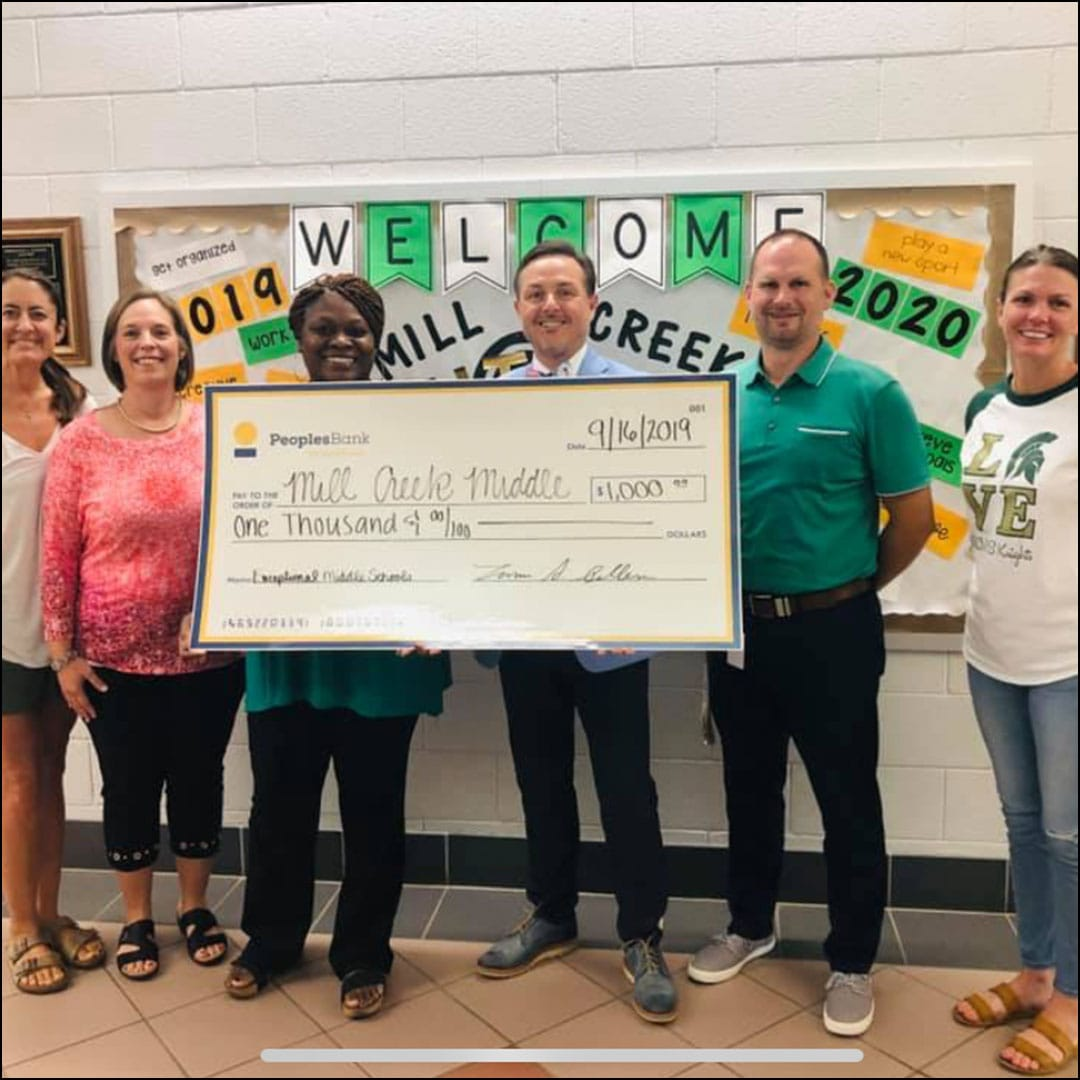Mill Creek Middle School check presentation