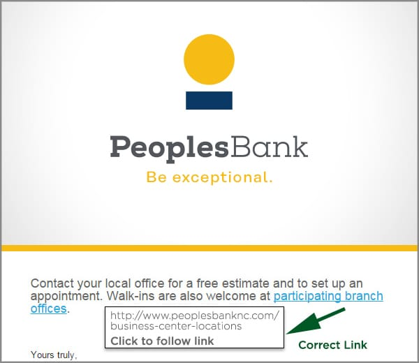 Image showing email link containing Peoples Bank address