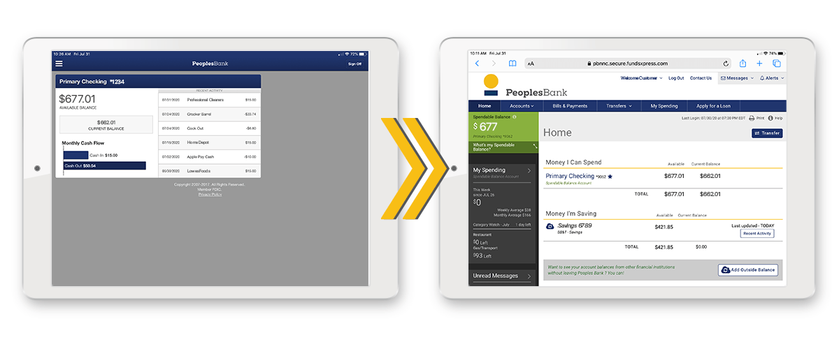 Tablet app transition to browser-based online banking